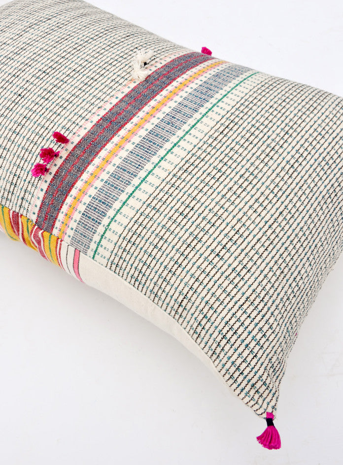 "Ahir Pillow in Multicolor Stripe, 16"" x 24"""