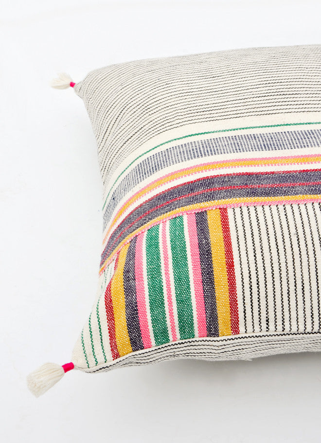 "2: Ahir Pillow in Multicolor Stripe, 16"" in  - LEIF"
