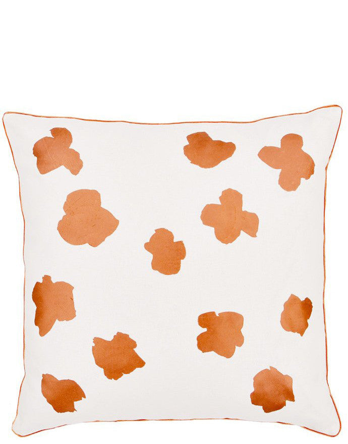 Ivory / Copper: Square Throw Pillow in White with Copper Abstract Flower Print on Front