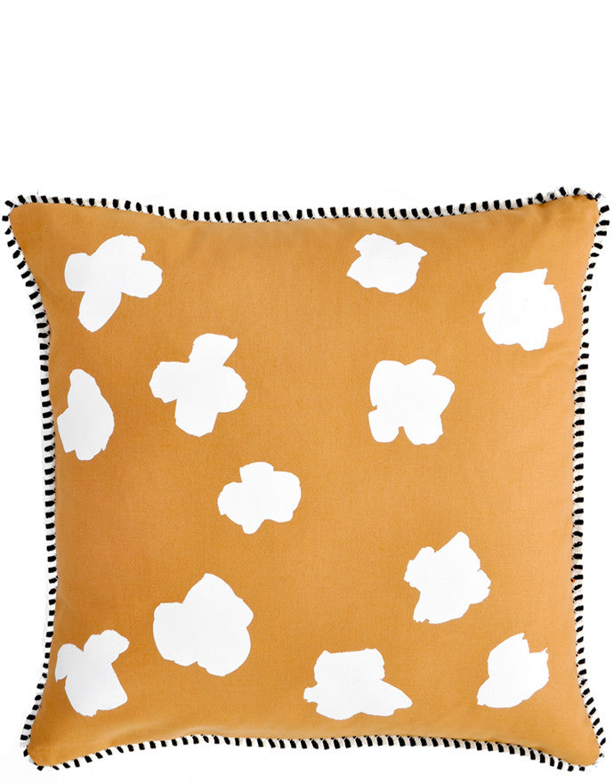 Whiskey / White: Square Throw Pillow in Brown with White Abstract Flower Print on Front
