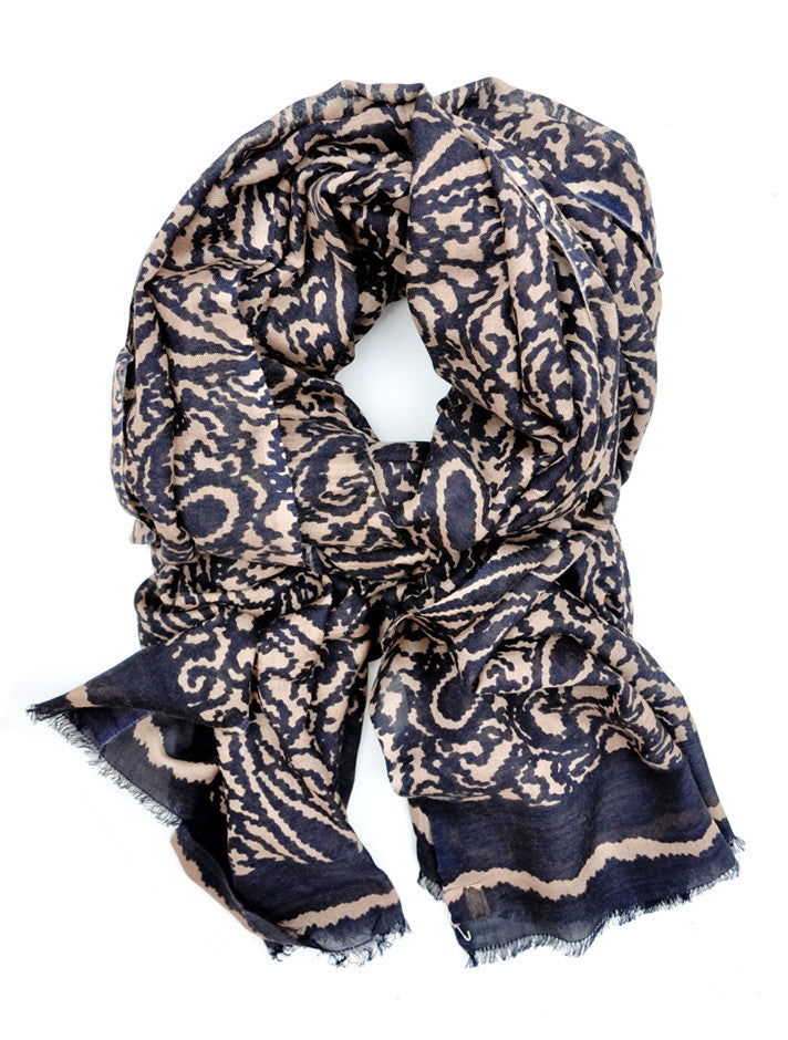 Inked Paisley Wool-Silk Scarf - LEIF