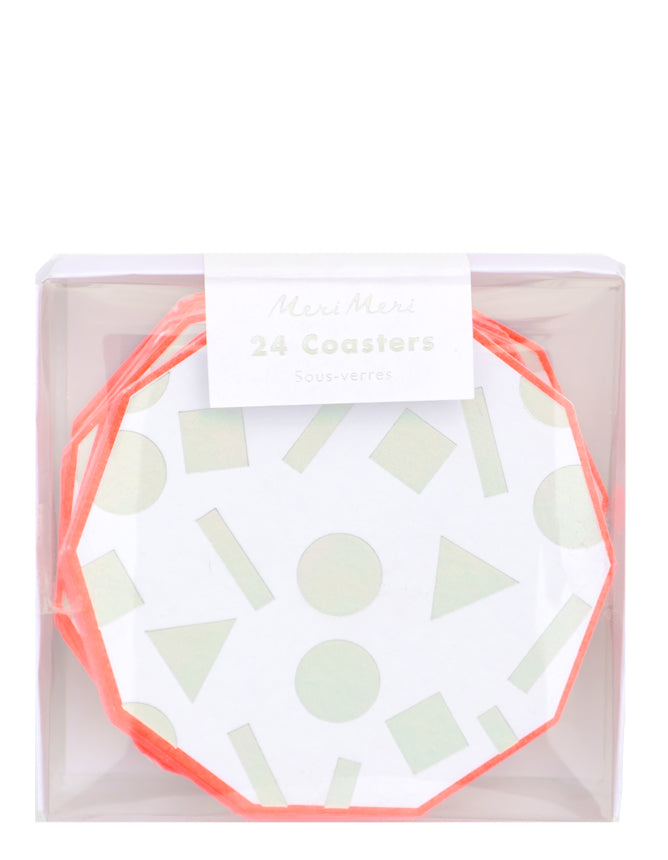 2: Iridescent Shapes Paper Coaster Set in  - LEIF