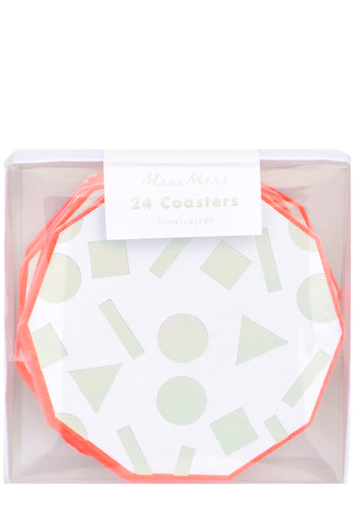 Iridescent Shapes Paper Coaster Set