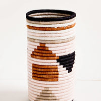 Pink Geo Multi: Tall vase made of woven natural grass in colorful geometric pattern