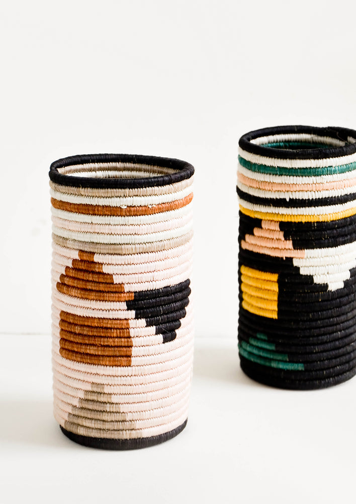 2: Tall vases made of woven natural grass in colorful geometric pattern
