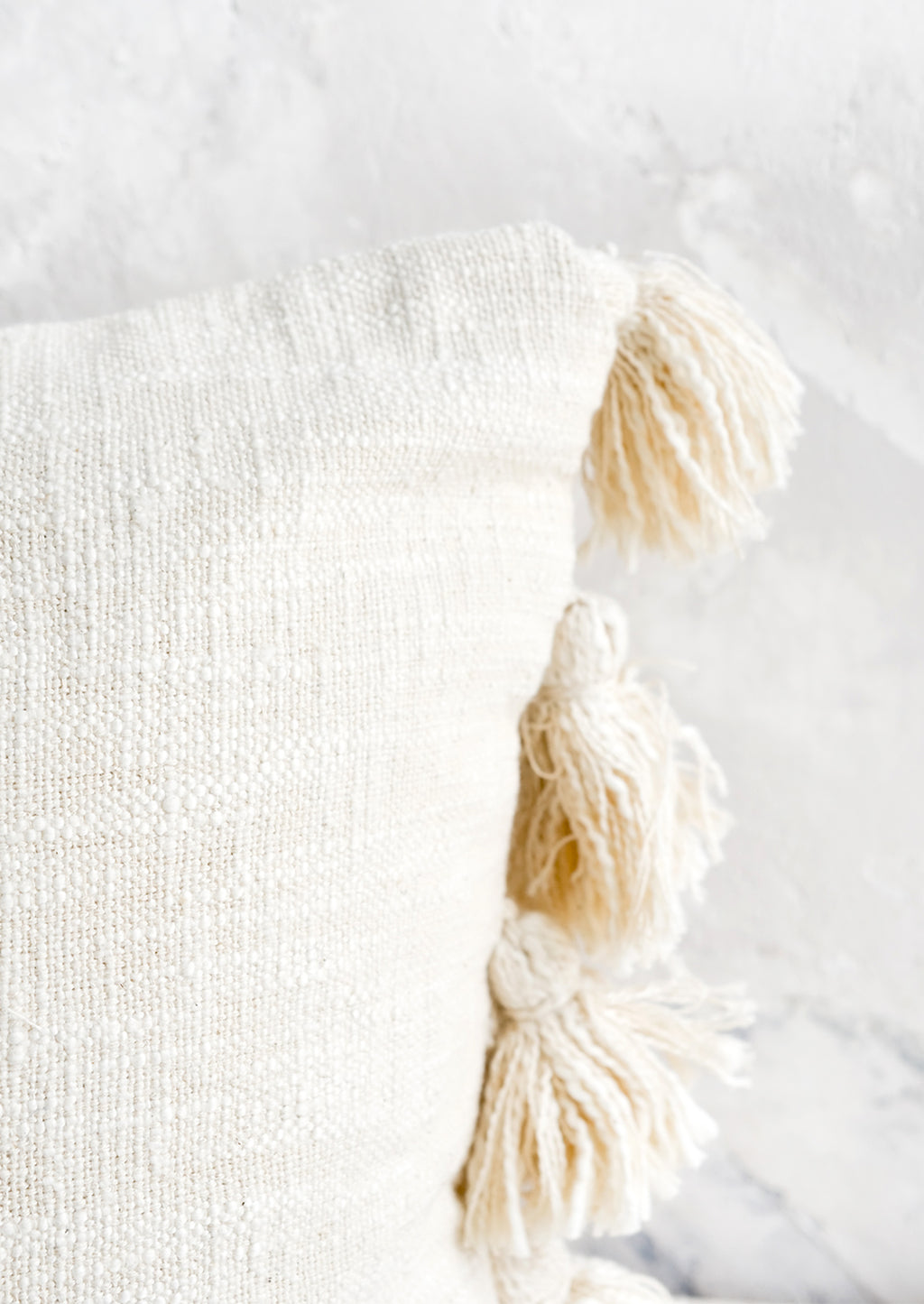 3: Textured cotton pillow with tonal, decorative tassels at side.