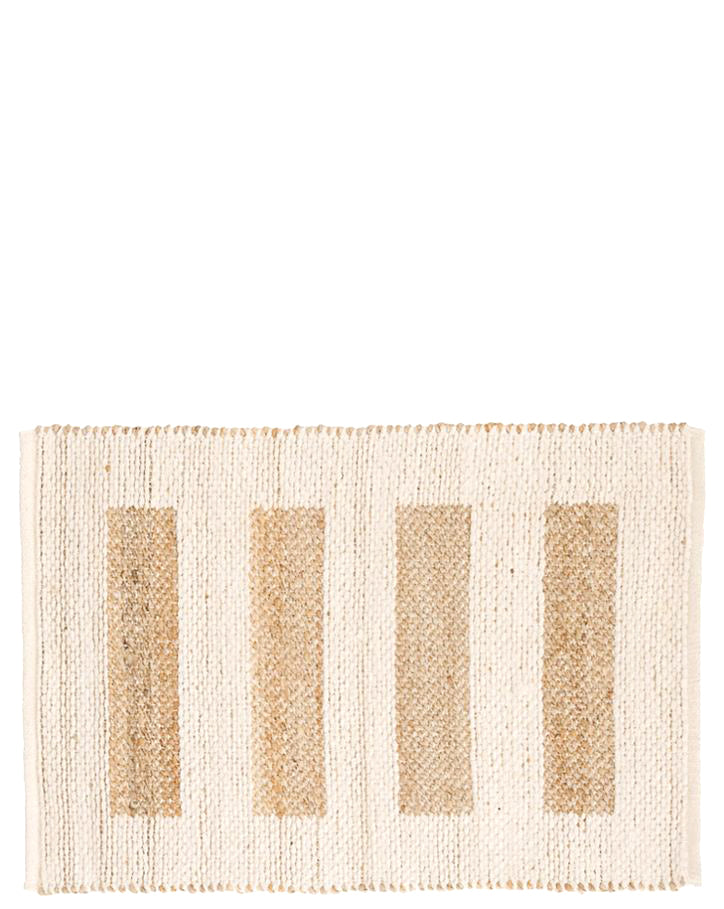 2' x 3' [$68.00]: Rug in ivory cotton with contrasting bar stripe pattern in natural jute.