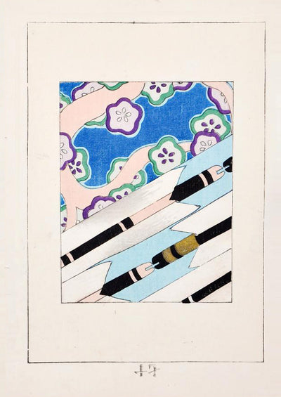 Vintage Japanese Woodblock Print in Blue / Black - LEIF