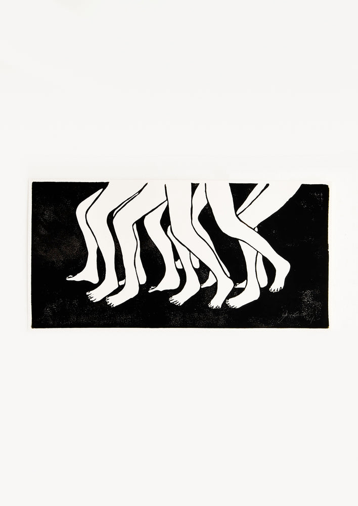 1: Hand printed artwork with black background and a bunch of moving legs in white