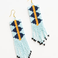 Aqua Multi: Dangling beaded fringe earrings featuring light aqua, dark blue and yellow beads.
