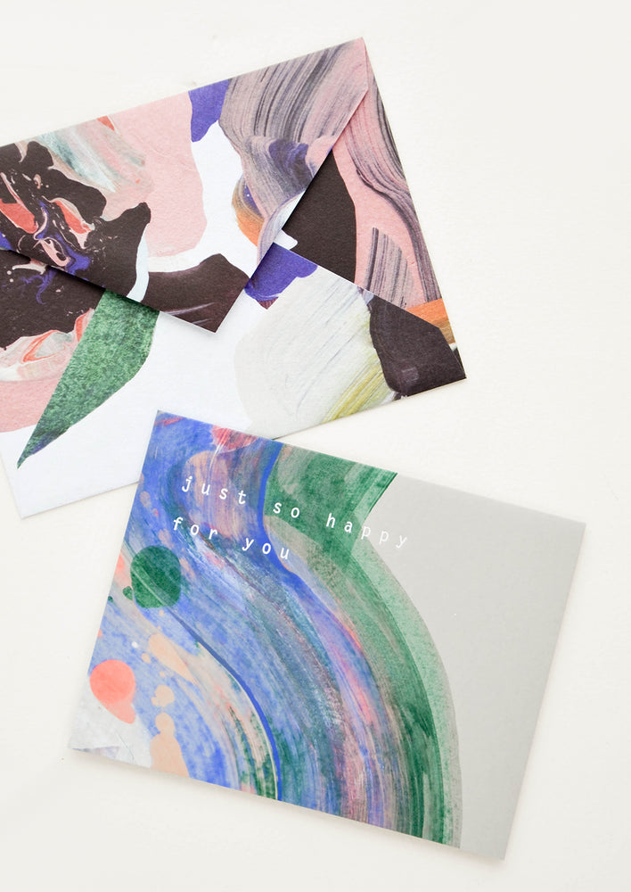 "2: Greeting card reading ""just so happy with you"" paired with artful abstract printed envelope"