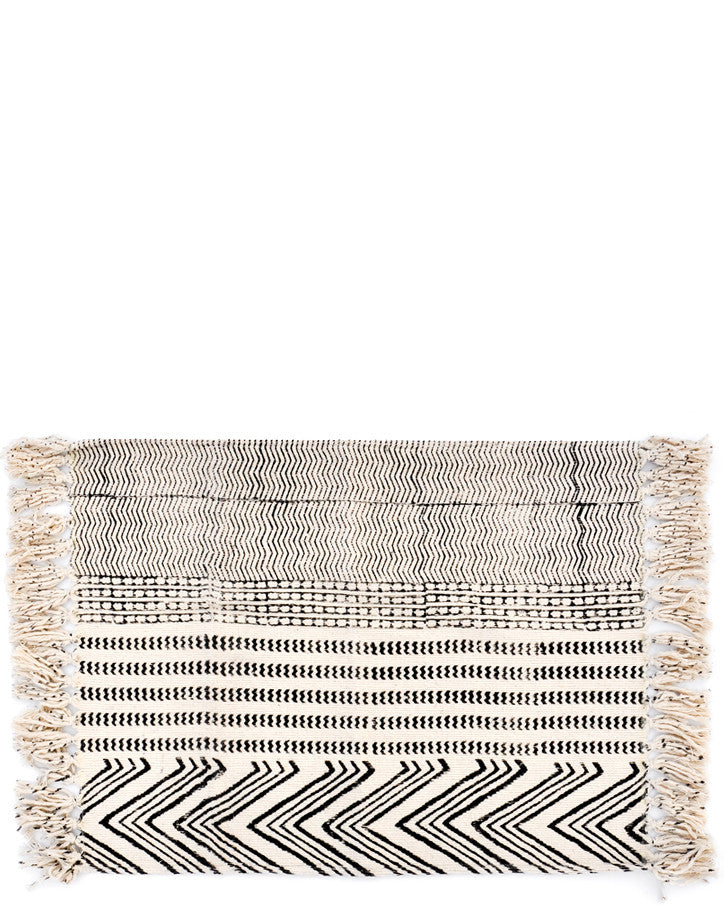 Natural / Black: Block Printed Floor Mat in Natural / Black - LEIF