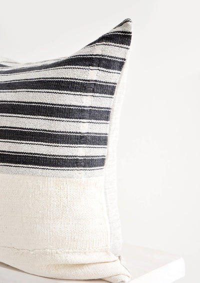 Karen Stripe Pillow in Ivory & Black hover