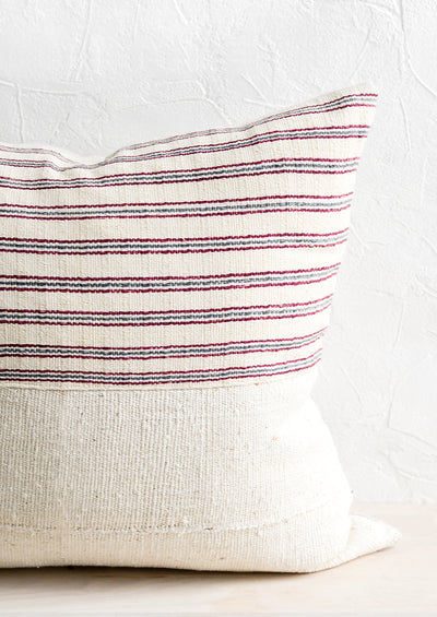 Karen Stripe Pillow in Ivory, Wine & Indigo