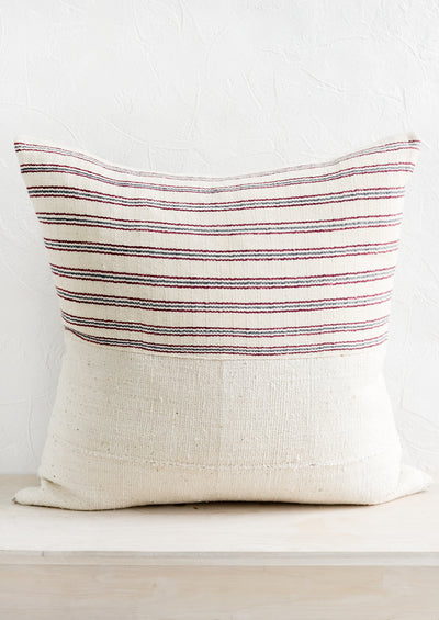Karen Stripe Pillow in Ivory, Wine & Indigo hover