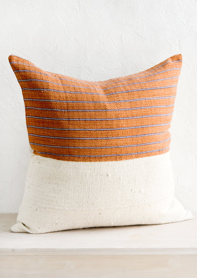 Karen Stripe Pillow in Rust & Indigo hover