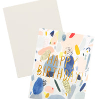 "2: Notecard with colorful abstract shapes and the text ""Happy Birthday"" in metallic gold, with white envelope"