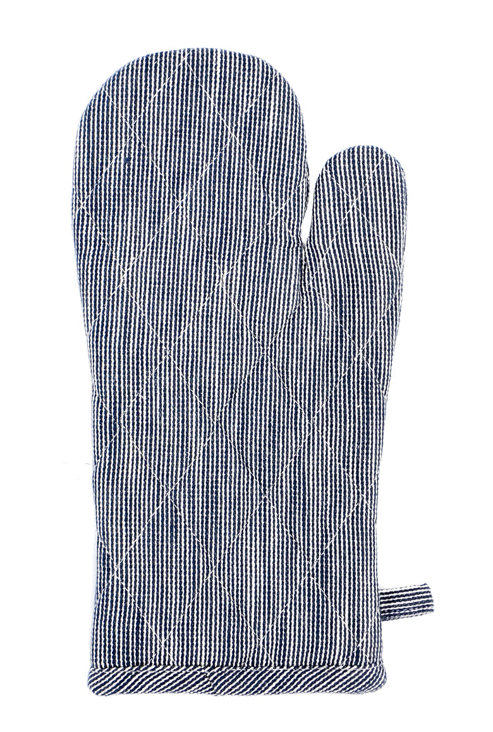 Navy Pinstripe: A blue and white horizontal stripe oven mitt.