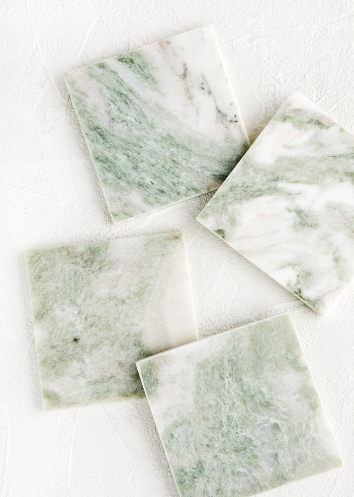 "Square: Set of 4 square coasters in green and white marbled ""lady onyx"""