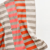 Taupe / Coral: Lanai Recycled Cotton Blanket in Taupe / Coral - LEIF
