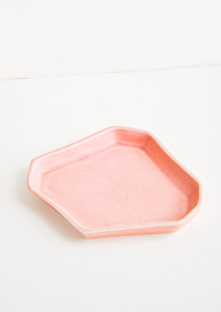 Pink: Faceted Ceramic Trinket Tray in Pink - LEIF