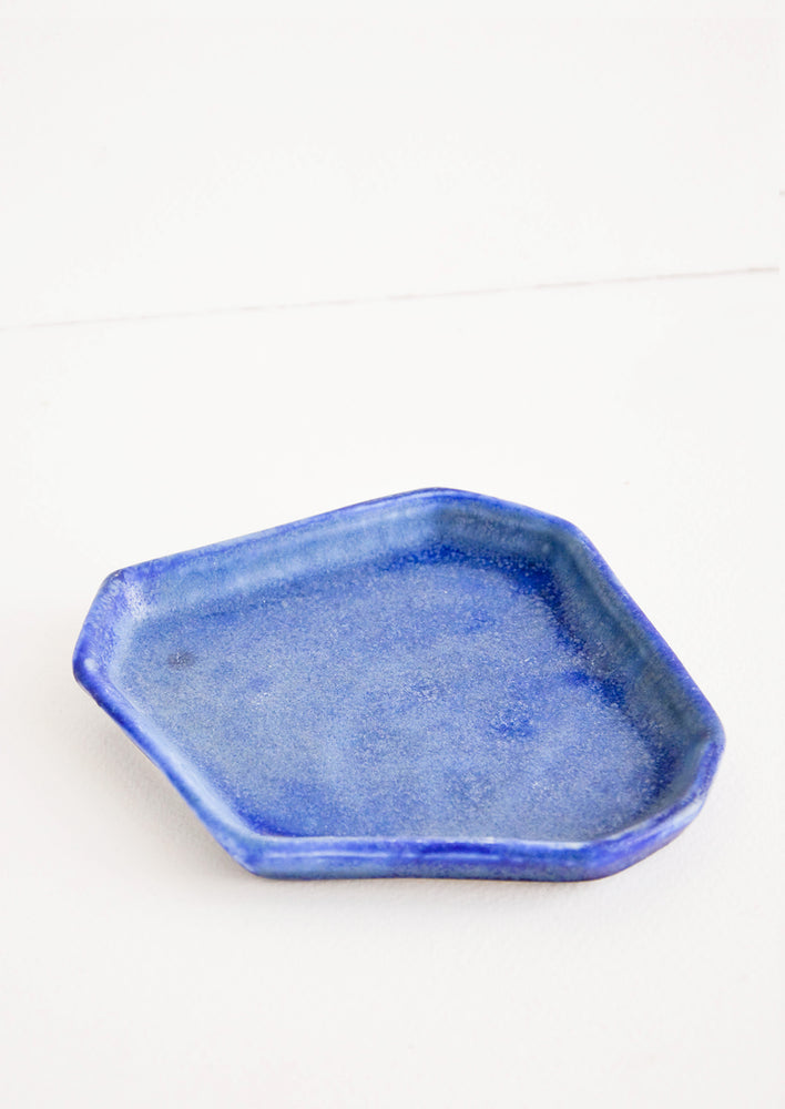 Faceted Ceramic Trinket Tray in Lapis - LEIF