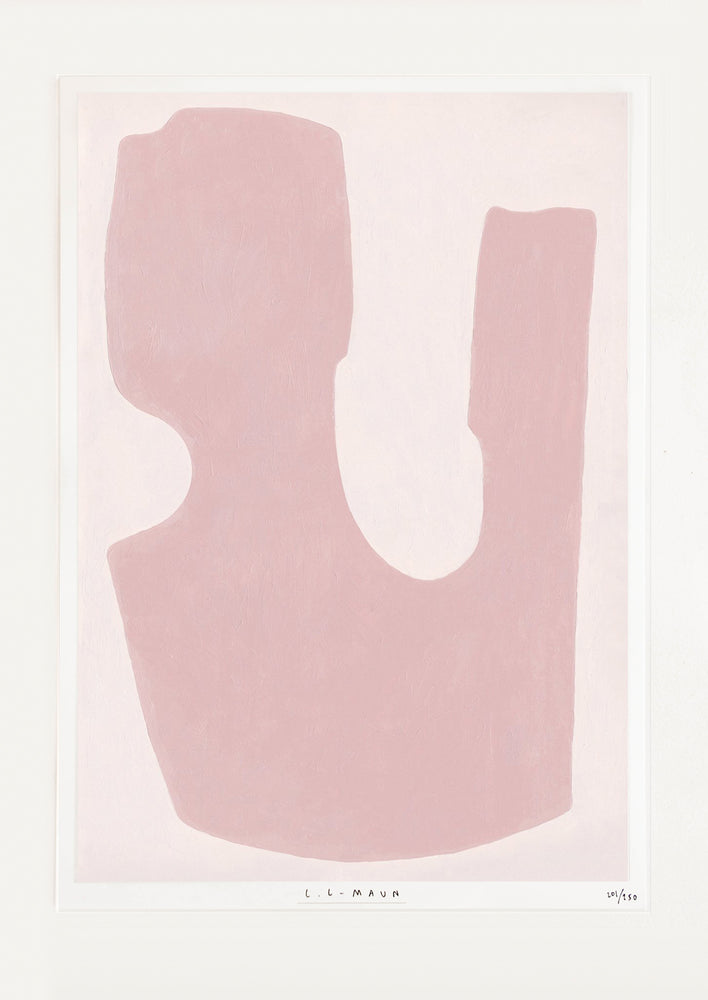 An abstract deep pink U-like form sits against a pale pink background.