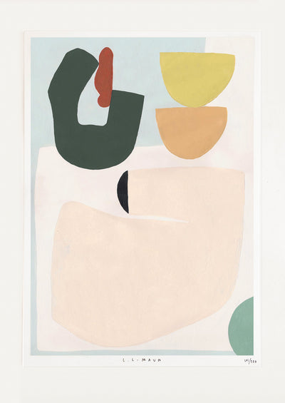 An abstract print of shapes in green, yellow, orange, beige, blue, and red.
