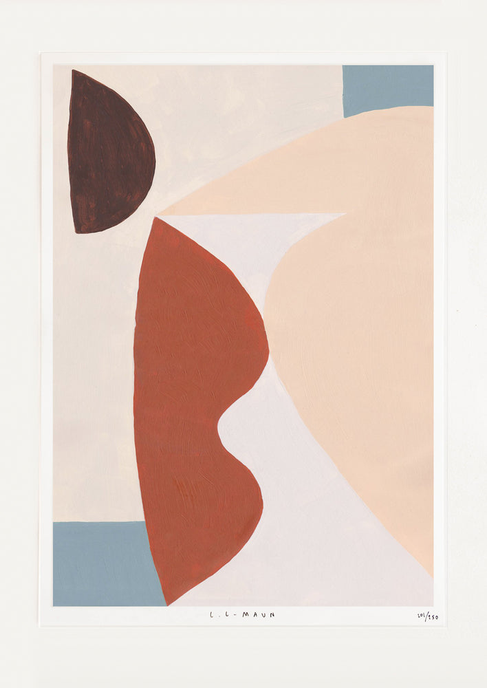 1: A print of curved abstract forms in beiges, reds, and blues.