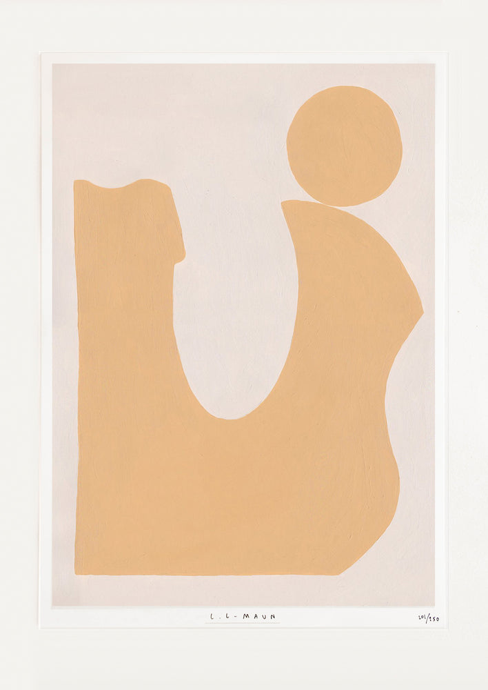 1: Art print of an abstract form in muted orange against a pale beige background