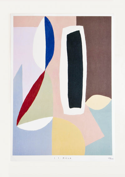 Art print featuring abstract arrangement of curved and geometric shapes