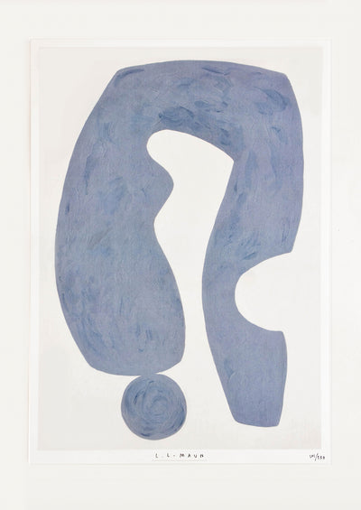 Art print featuring abstract form in blue-grey with textured look