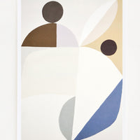 1: Abstract art print featuring muted shades of blue, brown, grey and lilac
