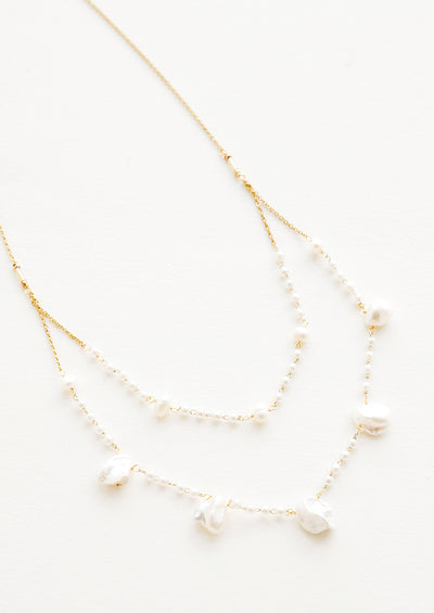 Layered Baroque Pearl Necklace hover