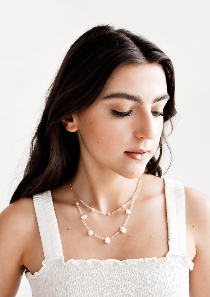 1: Layered Baroque Pearl Necklace in  - LEIF