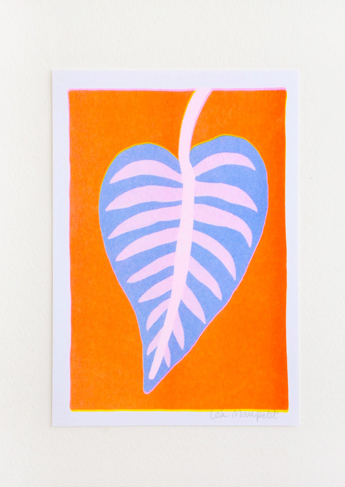 1: Risograph art print with neon orange background and purple and pink calathea leaf.