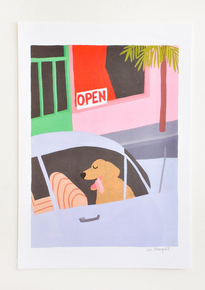 Dog In A Car Print