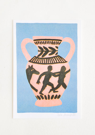 Risograph art print with blue background and peach and black printed image of a vase.