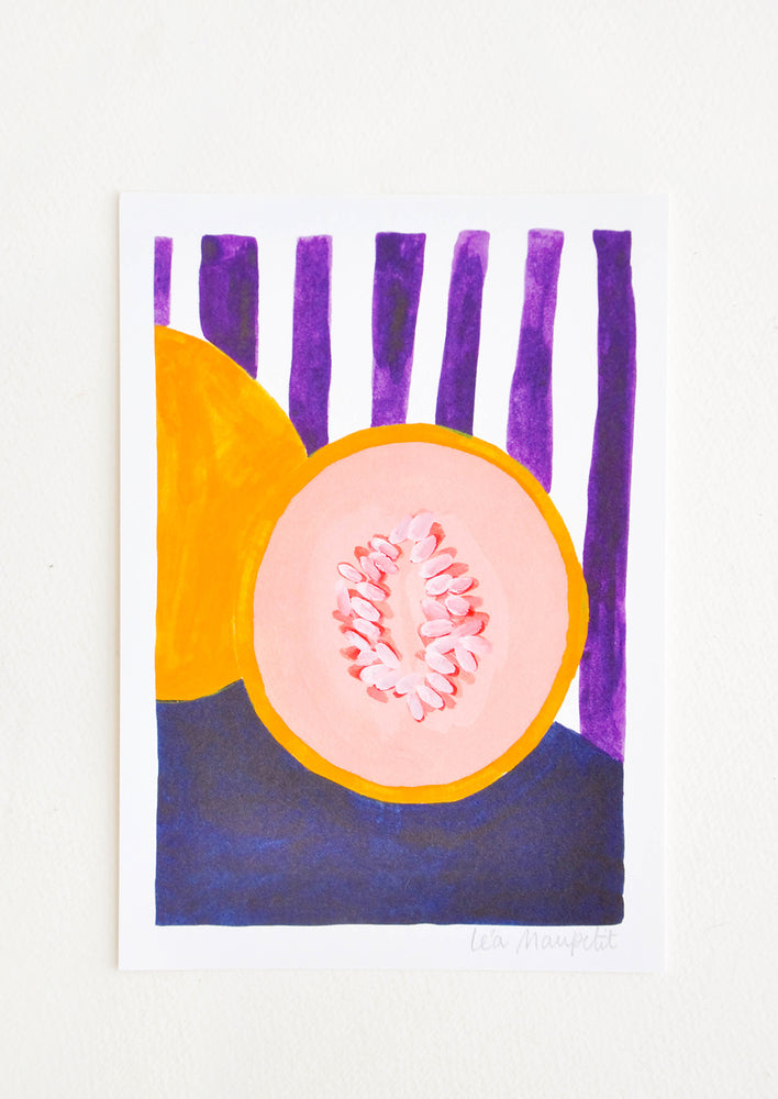 1: Still life of a cut cantaloup against a backdrop of purple and white vertical stripes.