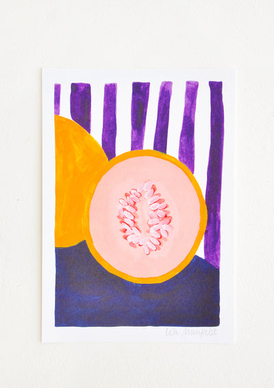 Still life of a cut cantaloup against a backdrop of purple and white vertical stripes.