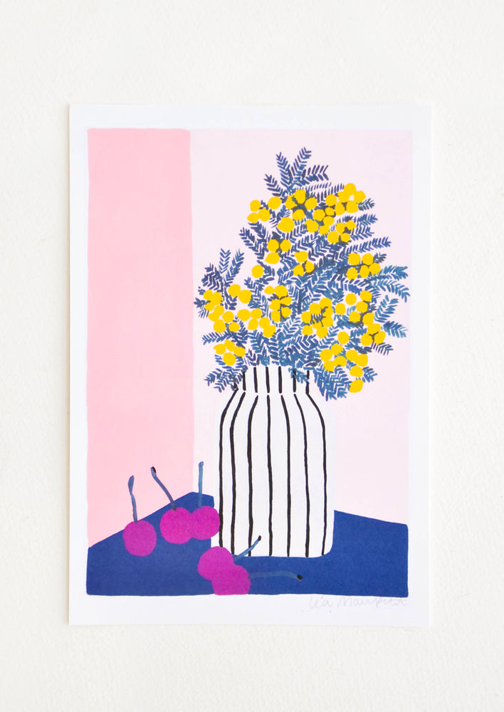 Art print with illustration of mimosa flowers in striped vase on tape with cherries.