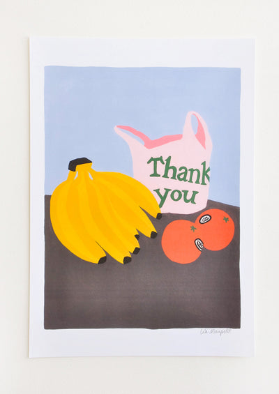 "Still life of a bunch of bananas, two tomatoes, and a pink ""thank you"" plastic bag on a brown table against a periwinkle background."