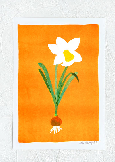 Risograph art print with neon coral background and daffodil flower