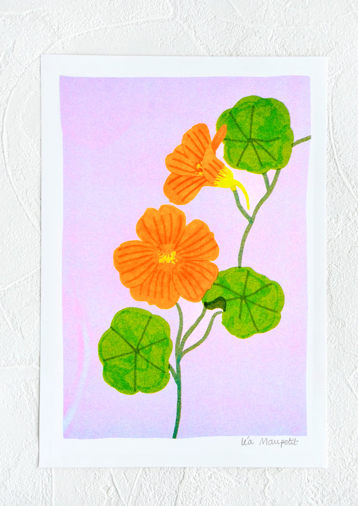 Risograph art print with neon coral background and nasturnium stem