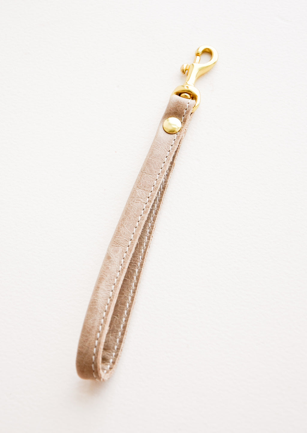 Natural Taupe: Leather Loop Keychain in Natural Taupe - LEIF