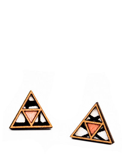Textile Triangle Earrings
