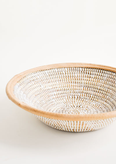 Leather Trimmed Sweetgrass Bowl in Natural/White - LEIF