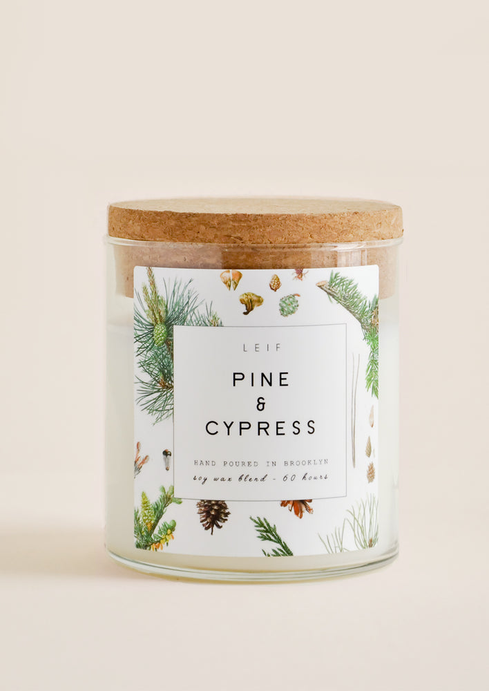 "Pine & Cypress: A glass candle with a cork lid and white botanical printed label reading ""pine and cypress."""