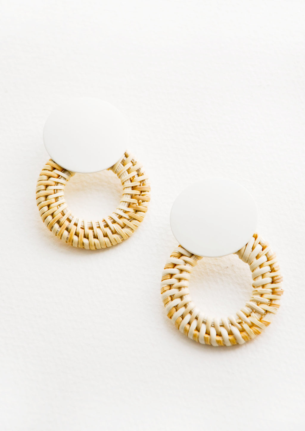 Leigh Rattan Earrings in Ivory / Natural - LEIF