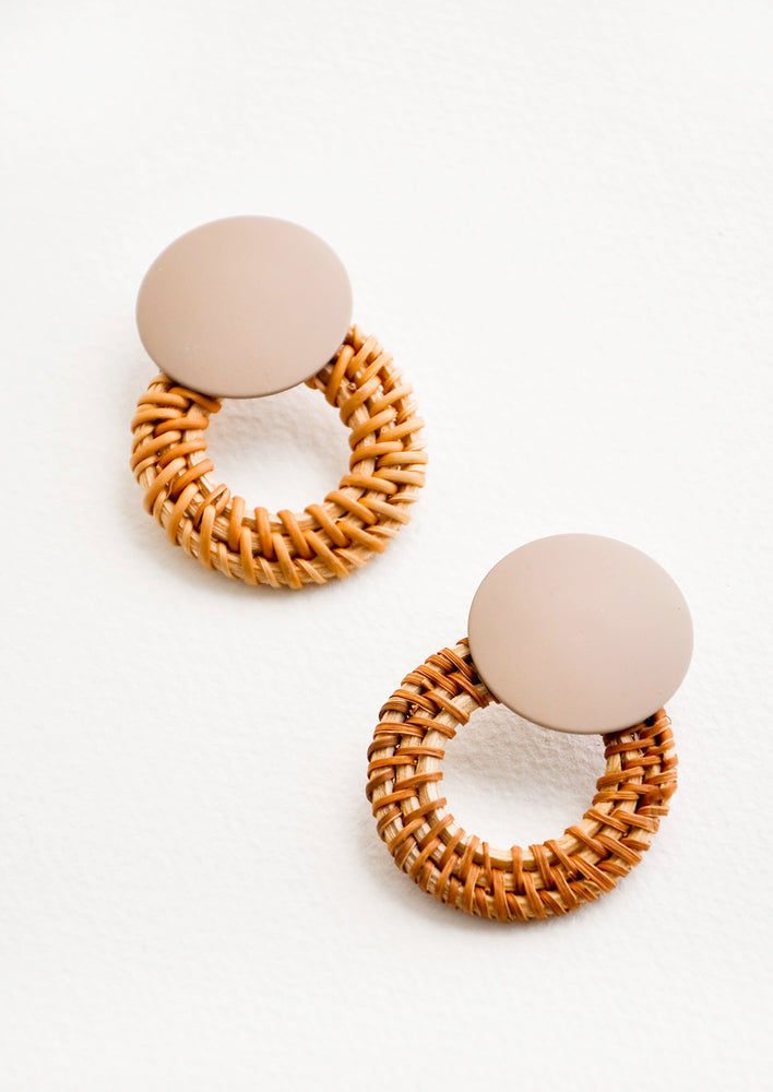 Leigh Rattan Earrings in Taupe / Tan - LEIF